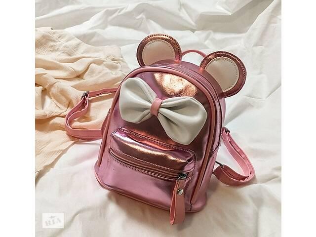 бу Маленький детский рюкзак Микки Маус с ушками и бантиком, мини рюкзачок для девочек блестящий с ушами Розовый в Днепре (Днепропетровск)