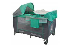 Манеж кроваткадля путешествий раскладная, с пеленальным столиком Baby Mix De Lux HR-8052-301 120х60 см
