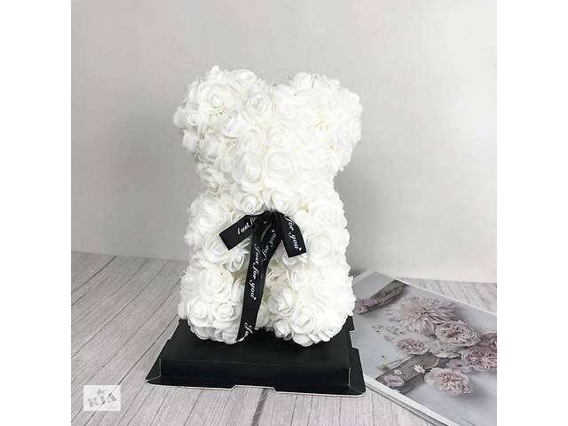 Мишка из красных роз 25 см в подарочной коробке 3D Teddy Flower Белый+Кулон I love you