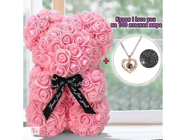 Мишка из красных роз 25 см в подарочной коробке 3D Teddy Flower Оригинальный подарок девушке в подарочной упаковке Св...