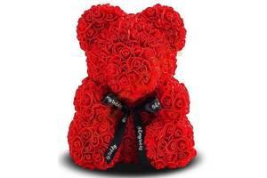 Мишка из роз Bear Flowers 25 см красный