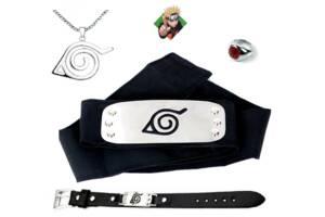 """Набор аксессуаров Наруто: Повязка """"Скрытый Лист"""", кольцо Шаринган, цепочка Скрытый Лист, браслет -Naruto Set"""