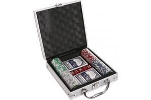 Набор для игры в покер в алюминиевом кейсе 100 фишек две колоды карт Kronos Toys TEXAS HOLDEM (spr_11018)