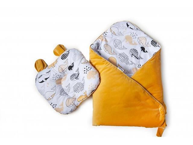 продам Набор конверт-плед с ортопедической подушкой Twins Bear, 100х100 см., желтый бу в Києві