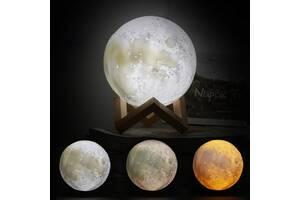 Ночной светильник в виде луны 3D Moon Light 15 см сенсорный на 5 режимов как ночник для ребенка Разный цвет луны