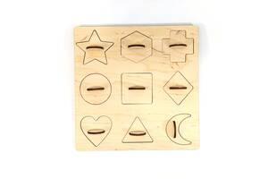 Обучающий деревянный сортер-вкладыш Фигуры 20х20х3 см Мастерская мисера Томаса Фанера 4 мм