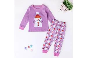 Пижама детская со снеговиком фиолетовая