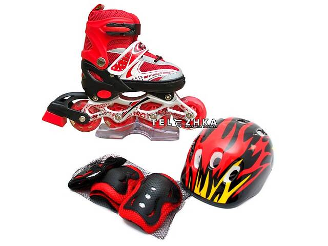 купить бу Ролики раздвижные SkateX Combo Kit Led 34-37 с комплектом защиты Красный в Киеве