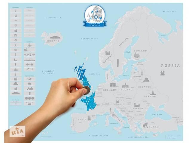 купить бу Скретч карта Европы в Одессе