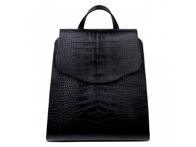 купить бу Сумка-рюкзак женская Valenta ВЕ610531 из кожи черная 8 л в Киеве