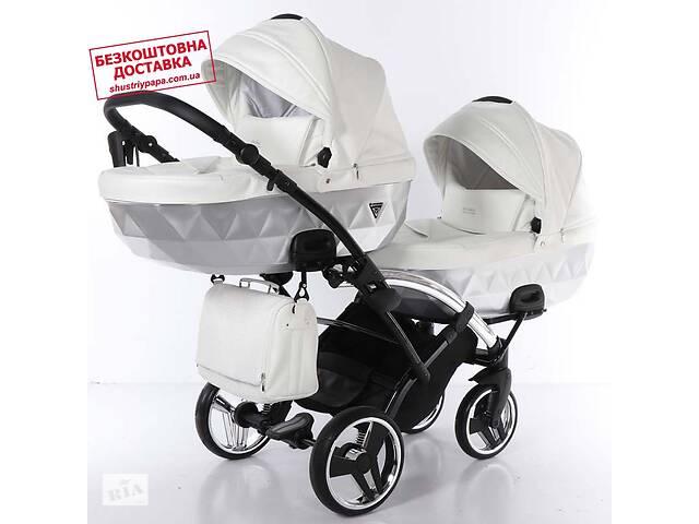 купить бу Універсальна коляска для двійні Junama Mirror Satin Duo Slim 04 White Silver в Києві