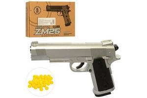Игрушечный пистолет металлический с патронами Cyma ZM25, 17,5х12х3 см., серый