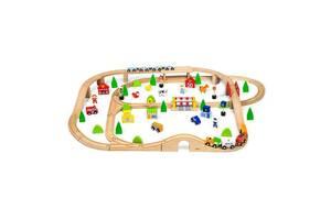 """Игрушка детская деревянная (бук) """"Железная дорога"""" Viga Toys, 90 деталей"""
