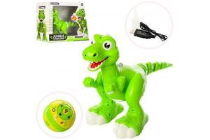 Игрушка Робот Динозавр интерактивный на радиоуправлении JIRBAILE 32 см Ездит, танцует, звук, свет Green (908A-RT)
