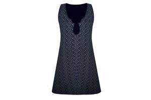 Женская ночная рубашка из хлопка Luna Style вензеля темно синий 44