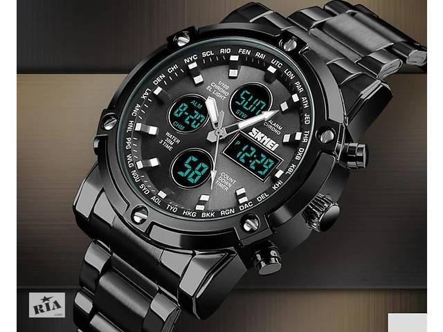 Мужские армейские часы SKMEI черные оригинал стальной браслет