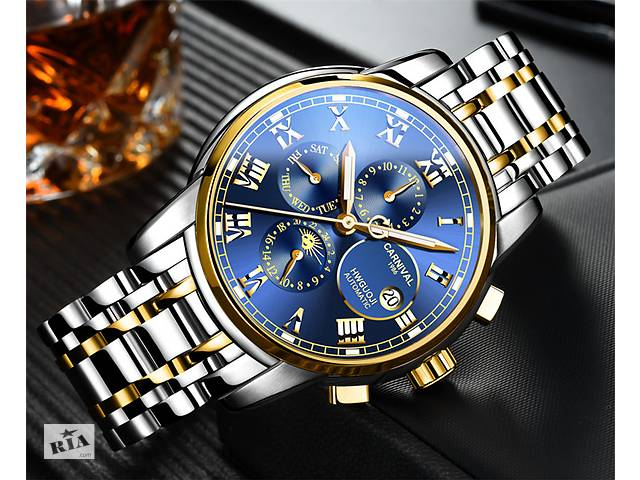 Чоловічі сталеві механічні годинники Carnival. Гарантія 1 Рік. Безкоштовна  доставка.- объявление о 6047beb987f42