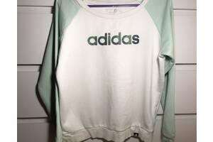 Білий світшоти & amp; ldquo; Adidas & amp; rdquo; з бірюзовими рукавами