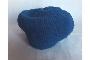 Берет женский синий шерстяной вязаный