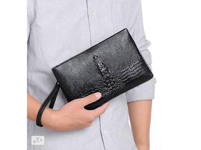 купить бу Большой мужской клатч барсетка для документов крокодил черный, мужская сумка кошелек для телефона рептилия в Днепре (Днепропетровск)