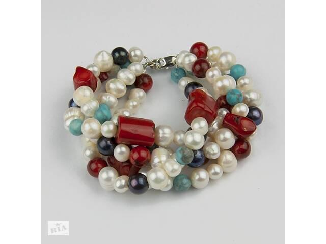 Дизайнерский браслет - жемчуг, кораллы, бирюза- объявление о продаже  в Киеве