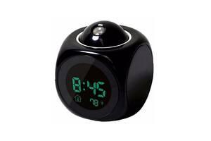 Часы будильник с проектором времени и термометром 2028, black