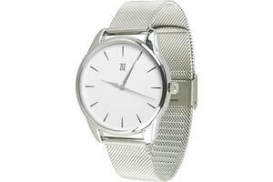 """Часы """"Черным по белому"""" (ремешок из нержавеющей стали серебро) + дополнительный ремешок (5016388)"""