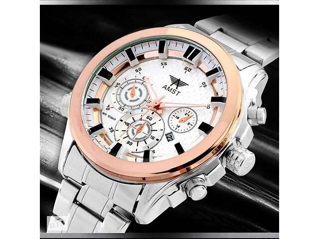 бу Часы мужские наручные AMST Hamilton+фирменная коробка в подарок silver-gold-white в Харькове