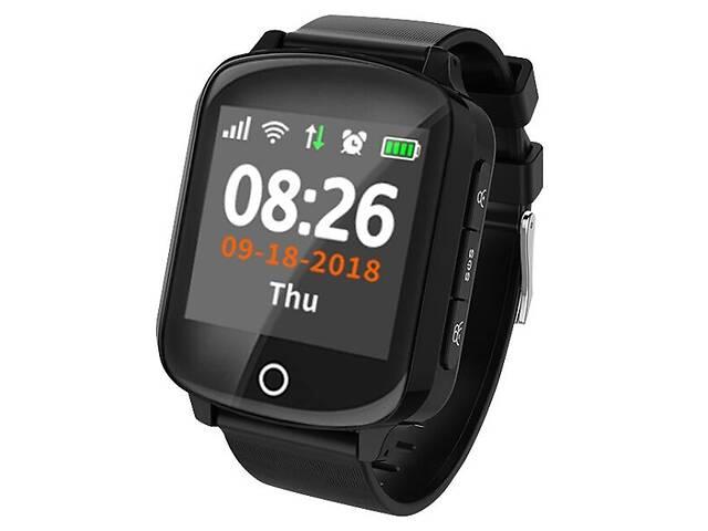 Часы телефон с GPS для пожилых людей Smart Watch D200 с измерением давления/пульса и датчиком падения Черный- объявление о продаже  в Киеве