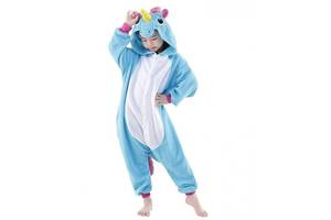 """Детское кигуруми-пижама My little pony """"Единорог"""" из велсофта, для детей ростом до 110 см., голубое"""