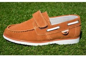 Детские туфли мокасины на липучке для мальчика замша коричневые р32 - 37