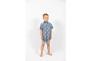 Детская синяя рубашка на мальчика с принтом короткий рукав Cat&Jack