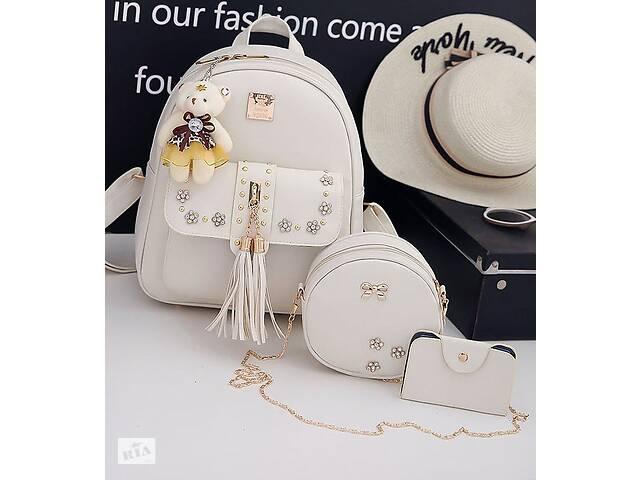 Элегантный женский набор с цветочками 3в1 Рюкзак, круглая сумочка, визитница- объявление о продаже  в Хмельницком