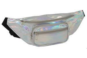 Голограмная сумк на пояс из кожзаменителя Loren SS113 silver
