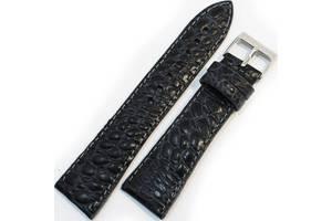 Качественный кожаный мужской ремешок для часов под кожу крокодила Mykhail Ikhtyar 22-016 черный