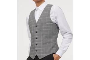 Картата чоловіча жилетка, костюмний жилет slim fit. h&m. розмір 48