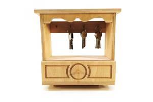 Ключница с шухлядой настенная Мастерская мистера Томаса 23см х 9см х 22 см Фанера без покрытия
