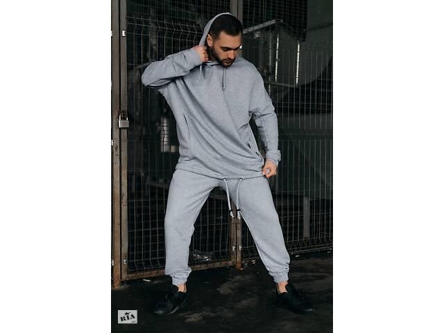 продам Костюм чоловічий спортивний весняно-осінній Oversize сірий Худі толстовка і штани сірі SKL59-283424 бу в Одесі