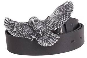 Кожаный эксклюзивный  мужской ремень с пряжкой в виде совы Topgal 49134 ДхШ: 130х4 см, черный