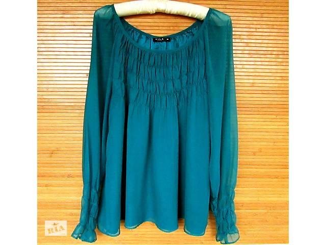 бу Красивая нарядная бирюзовая шифоновая блуза VILA с атласной подкладкой в Хмельницком
