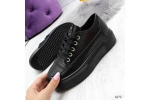 Молодіжні чорні жіночі кросівки кеди кріппери з натуральної шкіри 36-41р, 6876