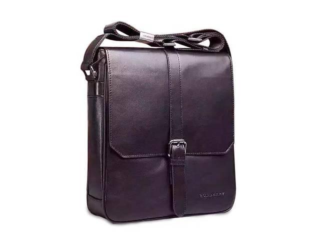 купить бу Мужской кожаный мессенджер Burberry Br3-404-2A, черный Реплика в Киеве