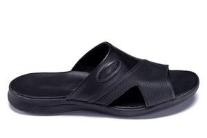 Мужские кожаные  летние шлепанцы-сланцы E-series Black  (реплика)