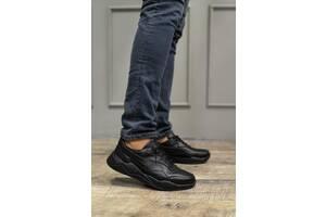 Мужские кроссовки кожаные весна/осень черные Yuves 998 Black Edition