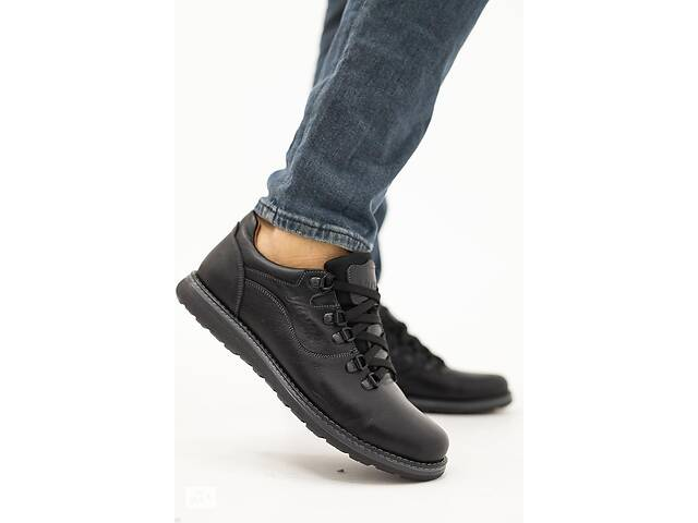 купить бу Мужские туфли кожаные весна/осень черные-матовые Yuves 650 в Хмельницком