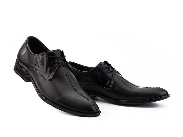 купить бу Мужские туфли кожаные весна/осень черные Slat 17104 на шнурках в Хмельницком