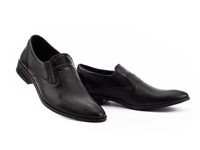 Мужские туфли кожаные весна/осень черные Slat 19451 без шнурков- объявление о продаже  в Хмельницком