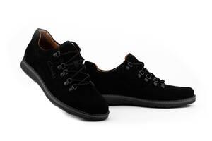 Мужские туфли замшевые весна/осень черные Yuves 650