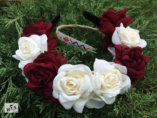 бу Ободок Бордовые и белые розы в Чернигове