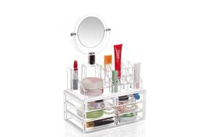 Організатор для зберігання косметики з дзеркалом Beauty box Plus JN-870 акриловий (par_BOKS 870)
